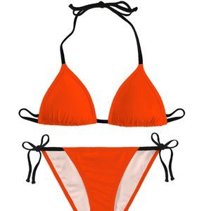 MYA LA Swim - Women's Beach Swim Bikini Tangerine  2pc, Tie Up
